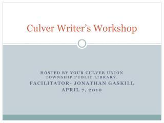 Culver Writer's Workshop