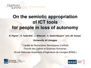 On the  semiotic appropriation o f ICT  tools for  people in  loss  of  autonomy