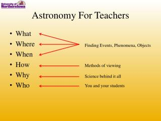 Astronomy For Teachers