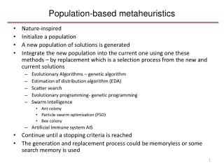 Population-based metaheuristics