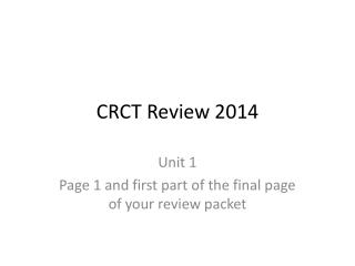 CRCT Review 2014