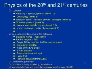 Physics of the 20 th  and 21 st  centuries