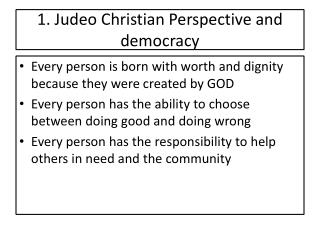 1. Judeo Christian Perspective and democracy