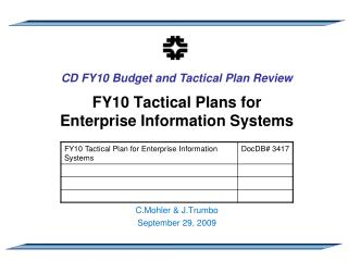FY10 Tactical Plans for Enterprise Information Systems