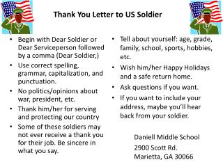 Thank You Letter to US Soldier