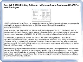 Easy W2 & 1099 Printing Software: Halfpricesoft.com Customiz