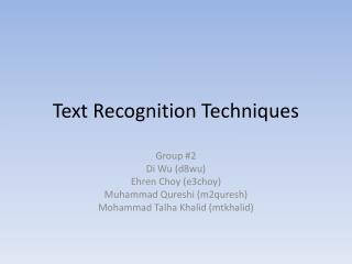 Text Recognition Techniques