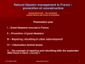 Natural disaster management in France :  prevention et reconstruction  Claude Martinand   Vice-president  Conseil G n ra