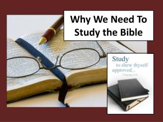 Why We Need To                      Study the Bible