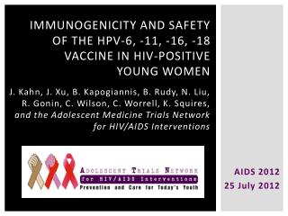 Immunogenicity and safety of the HPV-6, -11, -16, -18 Vaccine in  Hiv -positive young women