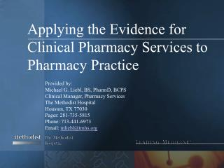 Applying the Evidence for Clinical Pharmacy Services to Pharmacy Practice