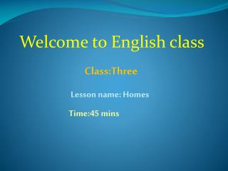 Welcome to English class