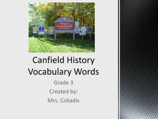 Canfield History Vocabulary Words