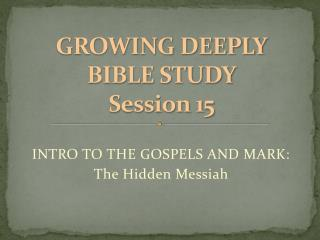 GROWING DEEPLY BIBLE  STUDY Session 15