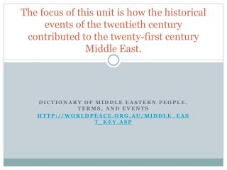 Dictionary of Middle Eastern People, Terms, and Events