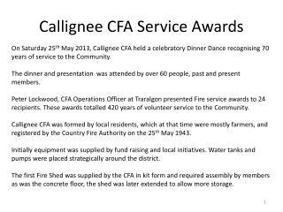 Callignee CFA Service Awards