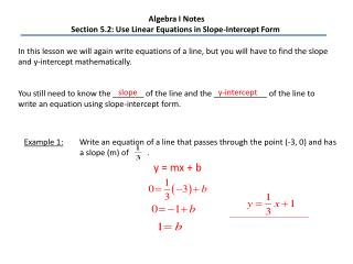 Algebra I Notes Section 5.2: Use Linear Equations in Slope-Intercept Form