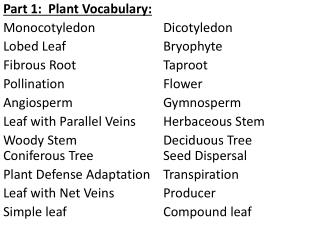 Part 1:  Plant Vocabulary: Monocotyledon     	 Dicotyledon Lobed  Leaf     		 	Bryophyte