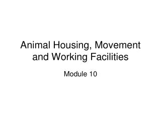Animal Housing, Movement and Working Facilities
