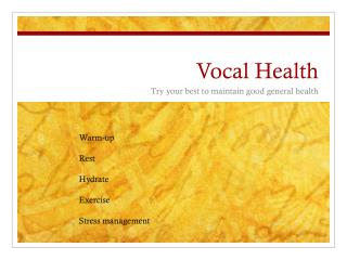 Vocal Health