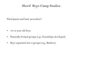 Sherif Boys Camp Studies