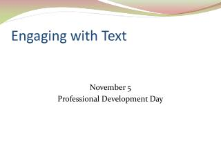 Engaging with Text