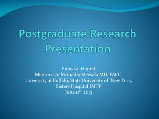 Postgraduate Research Presentation