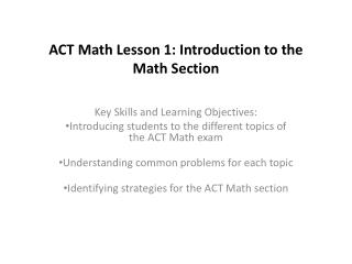 ACT Math Lesson 1: Introduction to the Math Section