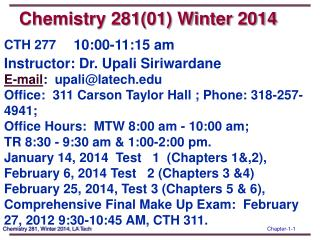 Chemistry 281(01) Winter 2014