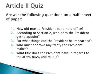 Article II Quiz