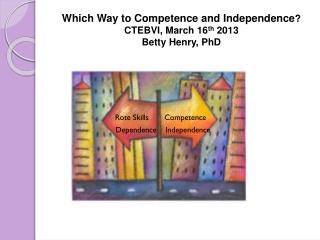 Which Way to Competence and Independence ? CTEBVI, March 16 th 2013 Betty Henry, PhD