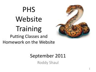 PHS  Website  Training Putting Classes  and  Homework  on the Website