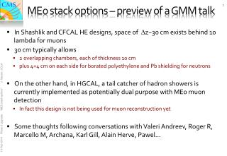 ME0 stack  options – preview of a GMM talk