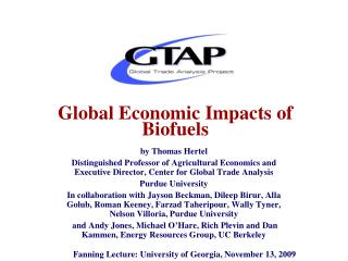 Global Economic Impacts of Biofuels