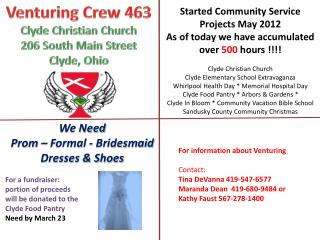 Venturing  Crew 463 Clyde Christian Church 206 South Main Street  Clyde, Ohio