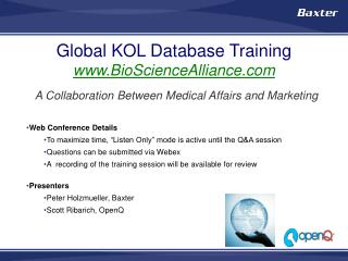 Global KOL Database  Training BioScienceAlliance