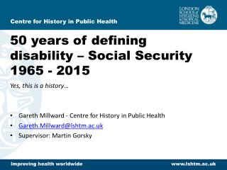 50 years of defining disability – Social Security 1965 - 2015