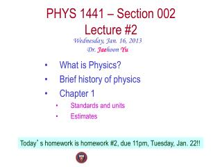 PHYS  1441  – Section  002 Lecture  #2