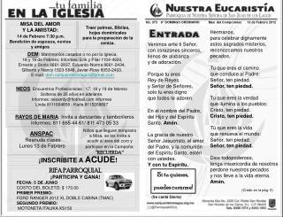 No.  373    6° DOMINGO ORDINARIO          Mes  del Compromiso      12 de Febrero 2012