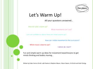 Fun and simple warm up ideas for movement based lessons to get  minds thinking and bodies moving…