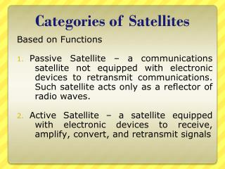 Categories of Satellites