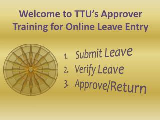 Submit Leave Verify Leave Approve/Return
