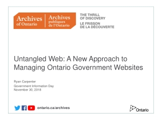 Ontario Ministry of the Environment: Overview and Opportunities