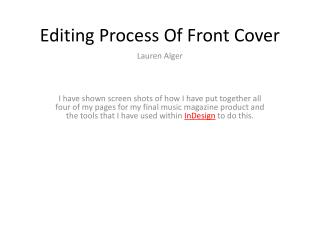 Editing Process Of Front Cover