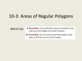 10-3: Areas of Regular Polygons