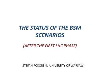 THE STATUS OF THE BSM SCENARIOS