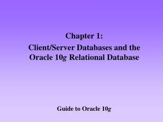 Guide to Oracle 10 g