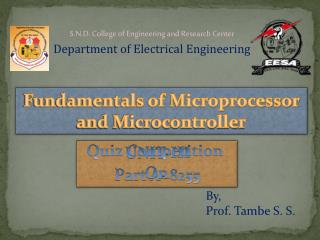 Fundamentals of Microprocessor and Microcontroller