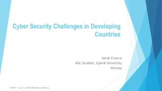 Cyber Security Challenges in Developing Countries