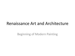 Renaissance Art and Architecture